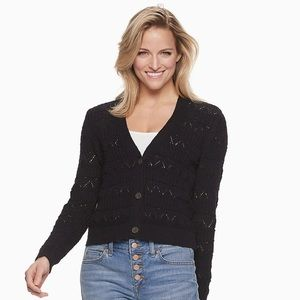 Black V-Neck Button Down Open Cardigan Sweater